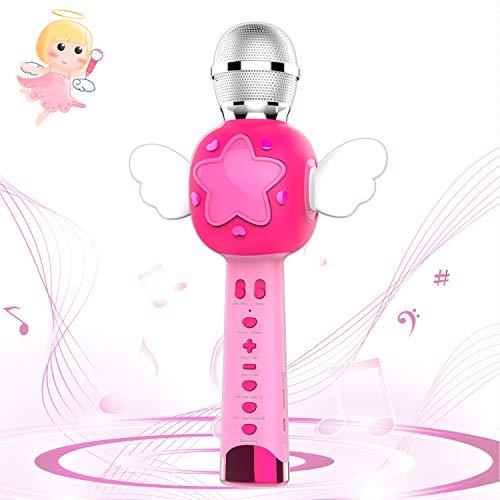 Karaoke Mikrofonsystem Kinder, Musik Karaoke Kida, Sprachwechsler Aufzeichnung Bluetooth Karaoke Mikrofon Party Lautsprecher, Mädchen Geschenke Spielzeug von 2 3 4 5 6 Jahren