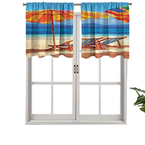 Cenefa de cortina con bolsillo para barra, sillas con vistas al mar tropical de Tailandia, playa, vacaciones exóticas, juego de 1, 127 x 45 cm para decoración de interiores