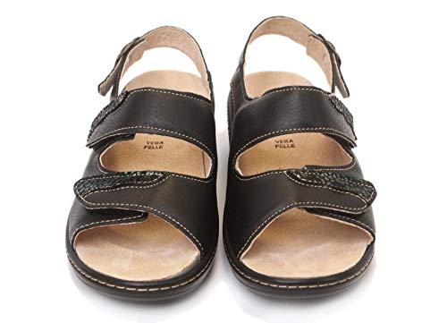 Sandalo Donna Marisol Plantare Estraibile Vera Pelle Tomaia Regolabile Fondo Antiscivolo Art. 123 (Nero, Numeric_40)