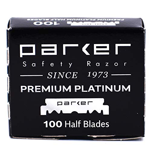 100 Parker Premium Platinum 1/2 Blades - for Professional Barber Razors, Shavette Razors and Disposable Blade Straight Razors