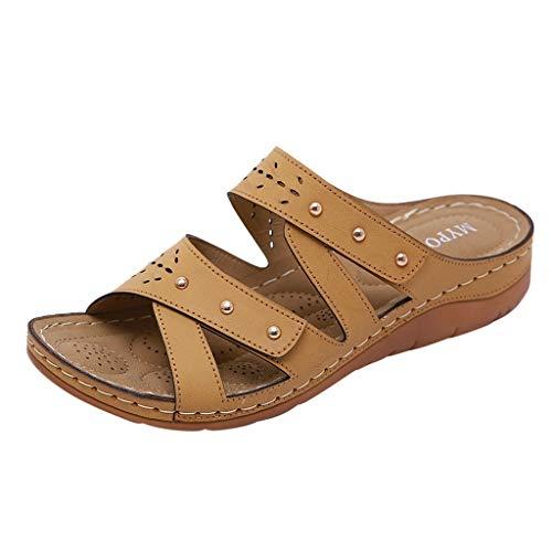 Dorical Damen Mode Sandalen Strass Flip Flops Sommer Pantoffeln Mit Keilabsatz,Zehentrenner Pantoffeln Slippers Schlappen für Frauen Übergroß 35-41 EU(Z2-Braun,38 EU)