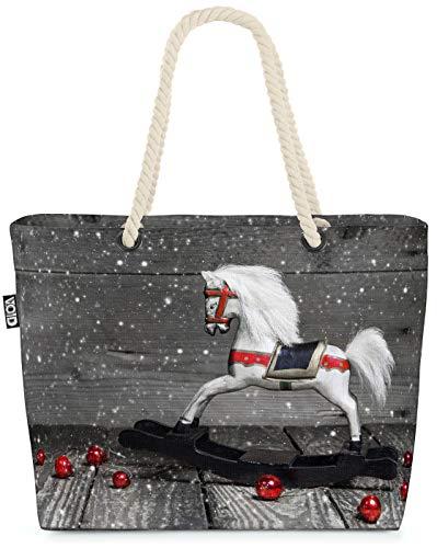 VOID Noël du Cheval à Bascule Sac de Plage XXL 58x38x16cm 23L provisions Voyage bandoulière Beach Bag Shopper