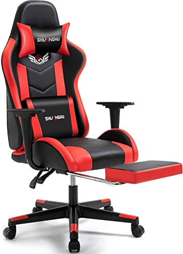 Shuanghu Gaming Chair Office Chair Ergonomic PC Computer Chair with Reclining Racing Chair with Headrest and Lumbar Support Gaming Chair for Adults Teens Desk Chair (Red&Footrest)