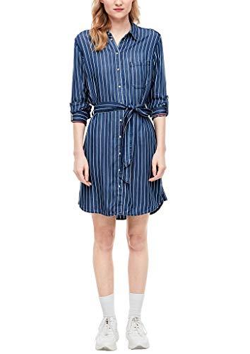 s.Oliver RED Label Damen Kleid aus Light Denim Blue Stripes 38