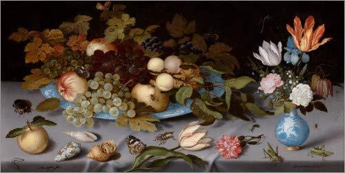 Posterlounge Leinwandbild 80 x 40 cm: Stillleben mit Früchten und Blumen von Balthasar Van der AST/akg-Images - fertiges Wandbild, Bild auf Keilrahmen, Fertigbild auf echter Leinwand, Leinwanddruck