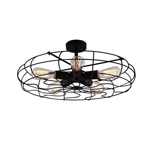 Semi Inbouw Plafond Light, Vintage Pendant Lights Industrial Chandelier Black Metal Cage Opknoping Bevestiging, for Hal, Restaurant, Magazijn