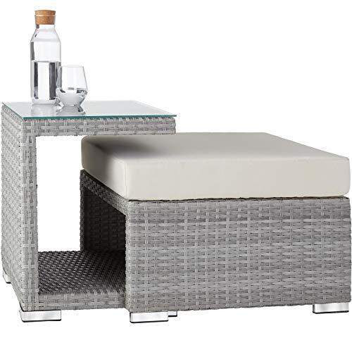 TecTake 800771 Aluminium Poly Rattan Lounge Set, 16-teilig, wetterfest, Garten Sofa mit Sonnendach, Outdoor Sitzgruppe inkl. Kissen und Beistelltisch - Diverse Farben - (Hellgrau | Nr. 403712) - 6