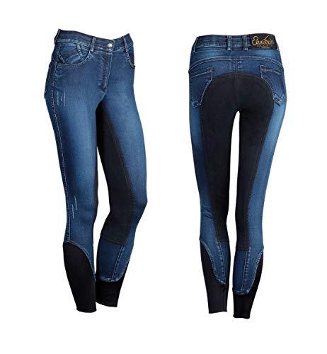 netproshop Damen Jeans-Reithose Burton Strapazierfähig mit Wildlederimitat-Vollbesatz, Damengroesse:36, Farbe:Dunkelblau