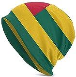 Flower Togo Flag Beanie Hat para Hombres y Mujeres - Invierno cálido Unisex con puños Lisos Gorro de Punto de Calavera Negro