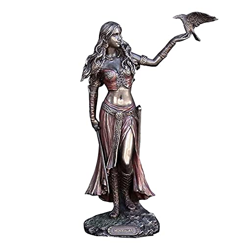 Statua della dea Morrigan, simboli celtici 7 pollici Statua della dea Ornamenti della dea greca Resina Corvo e spada Scultura artigianale in bronzo Sapienza celtica e magia dell'oscurità