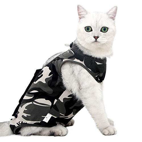 Recovery Suit Katze,Postoperative Katze-Kleidung für Genesung Unterleibsschutz für Wundvernarbung oder Hautkrankheiten, Kleidung nach der Operation(L, Camouflage)
