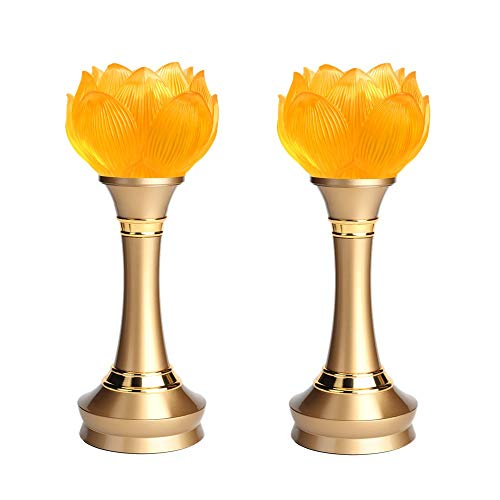 LACGO LED Lotus Buddhist Light, Warm Yellow Buddha Lotus Lamp, 2 in 1 USB or Battery-Operated Buddhist Worship Prayer Faith Supply Things, Modern Simple Style Lotus Lamp(3.15''D/8''H, 2 Pack)