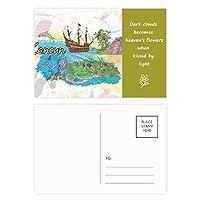 都市カンクンメキシコ島のマヤの寺院の水彩画 詩のポストカードセットサンクスカード郵送側20個