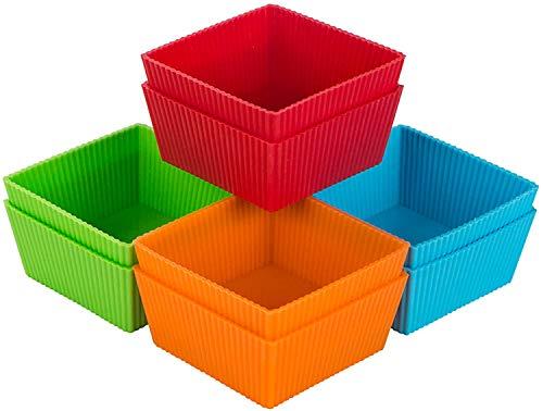 Webake Moldes de silicona para magdalenas, cuadrados, 9 cm, para magdalenas, moldes de magdalenas, reutilizables, antiadherentes, para tartas, helados, pudines, gelatina, paquete de 8