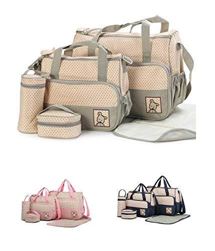 Sierra una bolsa grande, una bolsa mediana, un contenedor para la comida, un portabebés y un cambiador, excelente juego para llevar siempre contigo todo lo necesario para el bebe