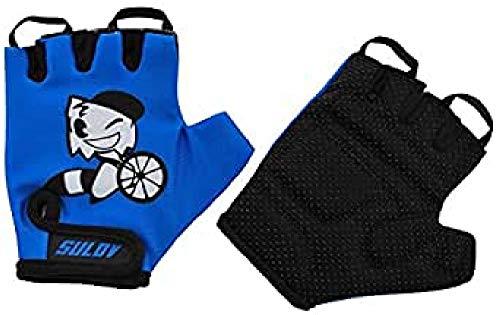 SULOV Kinder Junior Fahrrad Handschuhe, Blau, S