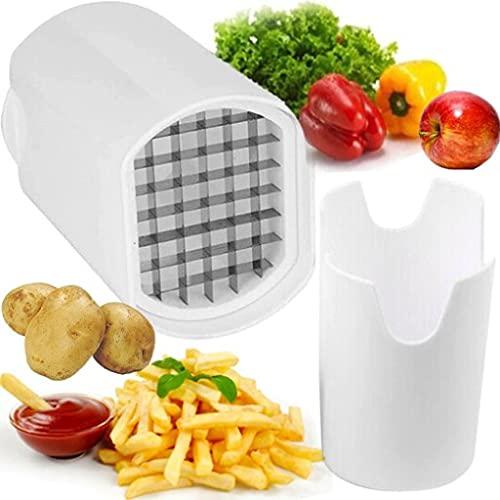 Retoo Tagliapatate e tagliapatate in acciaio inox lavabile in lavastoviglie, taglio salvaspazio per patatine, patatine e patate, colore: bianco
