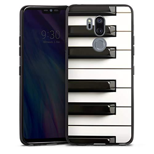 DeinDesign Silikon Hülle kompatibel mit LG G7 ThinQ Case schwarz Handyhülle Klavier Musik Piano