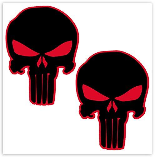 Biomar Labs 2 x Adesivi Vinile The Punisher Nero Skull Teschio Cranio per Auto Moto Finestrìno Scooter Bici Motociclo Tuning B 19