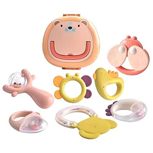 Juguetes de Dientes molares, 8 Piezas Juego de sonajeros para bebés Sonajero de Juguete para agarrar con Caja de Regalo Regalo de Juguete para bebés y niños