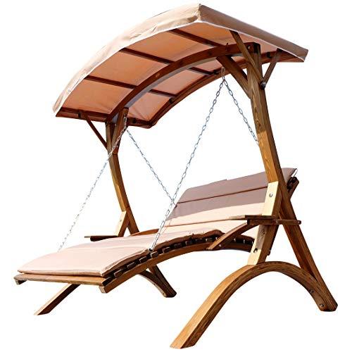 Conception Hollywood Balançoire Jardin Balançoire couchette Hollywood à double mélèze bois avec de toit: 'MACAO'