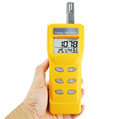 Carbon Dioxide CO2 Detector Monitor Meter Tester Sensor Temperature Humidity Indoor 9999ppm NDIR Air Quality IAQ Handheld Portable Digital Wet Bulb