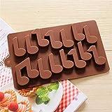Fewear Nota musical de silicona molde de chocolate 14 agujeros decoración de tortas para hornear herramientas de cocina