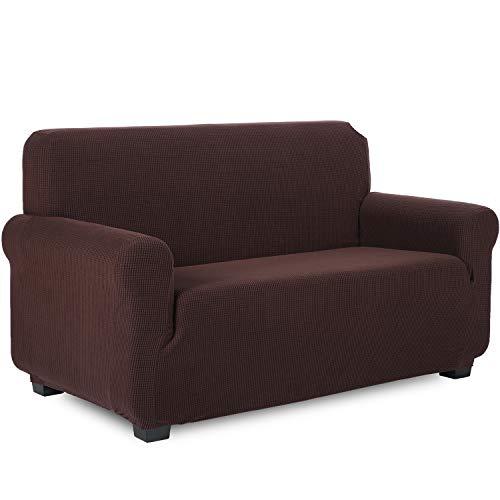 TIANSHU Funda de sofá 3 plazas Tejido Jacquard de poliéster y Elastano Fundas de sofá Suaves duraderas(3 plazas,Chocolates)