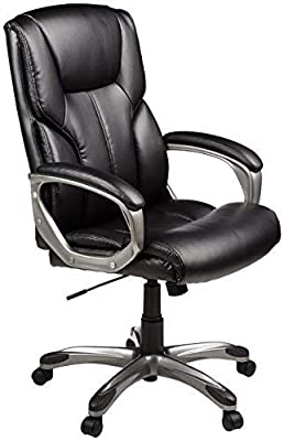 AmazonBasics High-Back, Leather Executive, Swivel, Adjustable Office Desk Chair with Casters