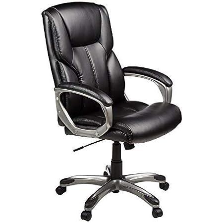 Amazon Com Amazon Basics High Back Executive Swivel Adjustable Office Desk Chair With Casters Black Bonded Leather Furniture Decor