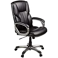 Amazon Basics High-Back Executive, Swivel, Adjustable Office Desk Chair with Casters, Black Bonded Leather