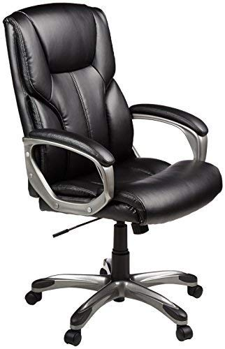 Amazon Basics High-Back Executive, Swivel, Adjustable Office Desk Chair with Casters, Black Bonded...