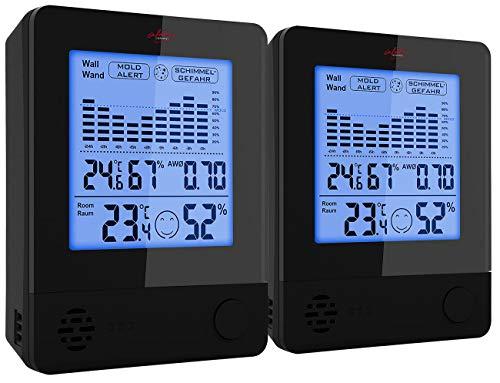 infactory Hygrometer Schimmel: 2er-Set 2in1-Thermometer & Hygrometer, Raum- & Wand-Messung (Schimmelwarner Hygrometer)