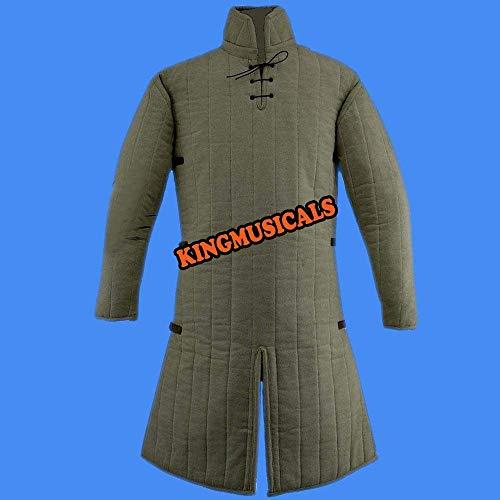 NASIR ALI Thick Padded Medieval Gambeson Coat Aketon Jacket Armor White Costumes Dress