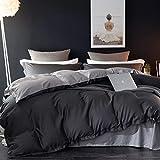 AShanlan - Biancheria da letto 200 x 220 cm, colore: grigio antracite, 100% morbida e piacevole microfibra, tinta unita, con chiusura lampo, 1 copripiumino 200 x 220 cm + 2 federe 80 x 80 cm