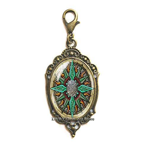 Celtic Compass Lobster Clasp, Compass Zipper Pull, Compass Jewelry, Compass Charm, Celtic Zipper Pull, Mens nescklace, Jewelry for Men, Man Lobster Clasp,M63
