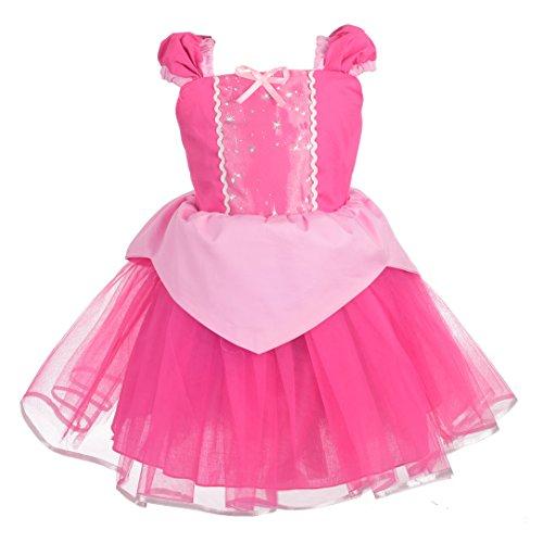 Lito Angels Niñas Vestido Princesa Aurora Bella Durmiente de Halloween Disfraces Ropa de Verano Falda Tul Talla 5-6 años