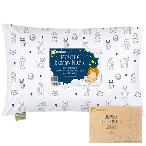 Toddler Pillow with Pillowcase, Jumbo 14X20 - Soft Organic Cotton Toddler Pillows for Sleeping - Machine Washable - Toddlers, Kids, Boy, Girl - Perfect for Travel, Toddler Cot, Bed Set (KeaFriends)