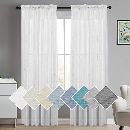 Turquoize White Linen Sheer Curtains Natural Linen Semi Sheer Curtains White 96 Inches Long Light Filtering Burlap Curtains 2 Panels Rod Pocket Window Treatments Panels/Drapes, Privacy Assured, White