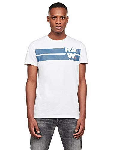 G-STAR RAW Raw Stripe Graphic Camiseta, Blanco 336-110, Medium para Hombre
