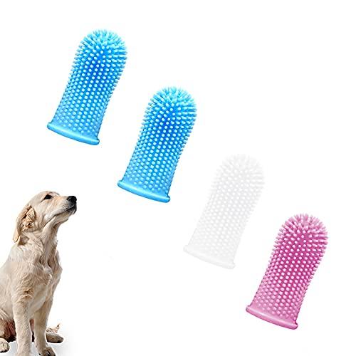 IKOZVI 360º Dog Finger Toothbrush - Ergonomic Design - Full Surround Bristles Fingerbrush for Easy Cleaning, Dog Toothbrush 4pack (Multi-Colored)