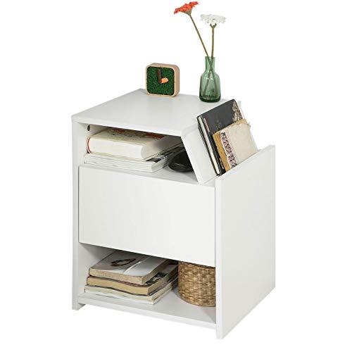 SoBuy FRG261-W Beistelltisch mit Magazinhalter Nachttisch mit Schublade und 3 Ablagen weiß BHT ca.: 40x51x37cm