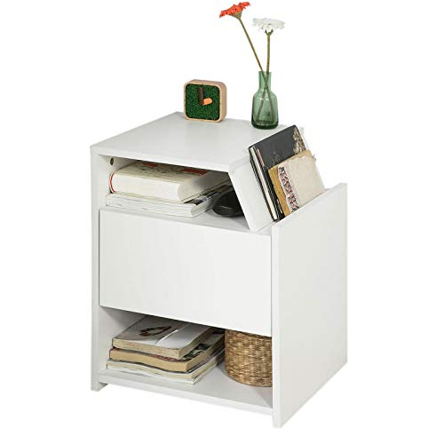 SoBuy FRG261-W, Beside Table with Drawer, Night Table Stand Lamp Table End Table Side Table