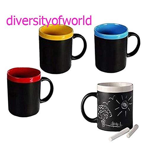 Lote de 4 Tazas de Pizarra (Incluye Tiza) Blanco, Amarillo, Rojo y Azu