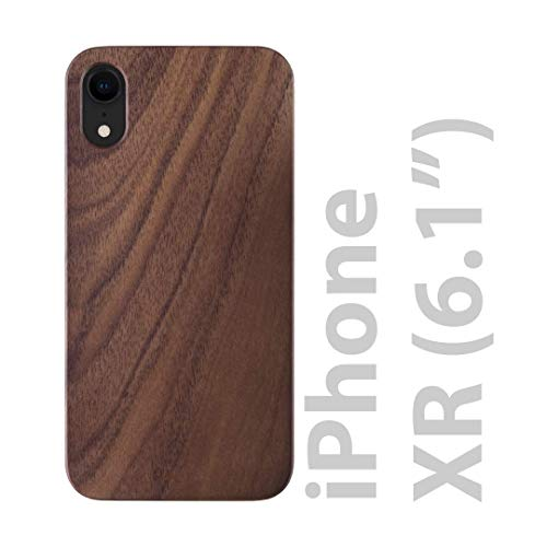iATO iPhone XR Case Wood Grain. Real Natural Walnut Wood iPhone XR Case {Open Top & Bottom Minimalistic Design Black PC Bumper with Raised Bezel Lips iPhone XR Wood Case} Supports Wireless Charging