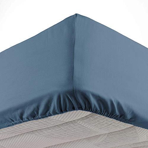 Douceur dIntérieur, Drap Housse 2 Personnes 140 X 190 cm Microfibre Unie Oscar Bleu Nuit, 100% Polyester