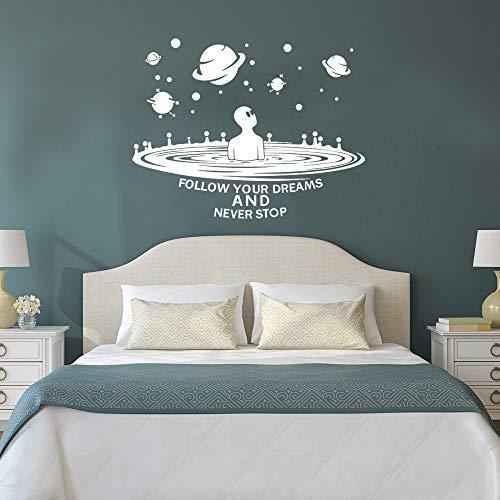 Adhesivo decorativo para pared, diseño de Alien Personality Creative, Sala de estar, Dormitorio, Fondo, Decoración de la habitación de los niños, Pegamento de pared, protección del medio ambiente, puede quitar la pegatina de pared 42 x 75 cm, color blanco