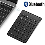 Bluetooth Number Pad, Acedada Portable Slim 22-Key Wireless Bluetooth Numeric Keypad for Financial Accounting Data Entry, Advanced 10 Key for Laptop, Notebook, Desktop, PC, Surface Pro, etc - Black