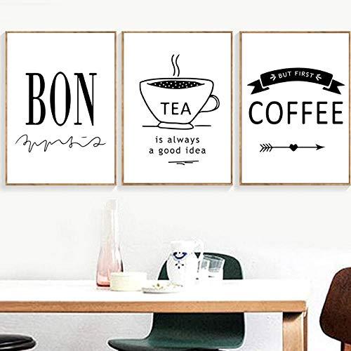 Terilizi Delicious Food Quotes Scandinavisch poster koffie thee muurkunst canvas schilderij minimalistische wandafbeeldingen poster keuken decor -30X40Cmx3 geen lijst
