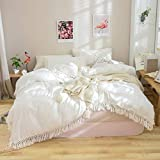 Softta White Duvet Cover Queen 3 Pcs Boho Bedding Ruffle Tassel Farmhouse Duvet Covers Fringed 100% Washed Cotton